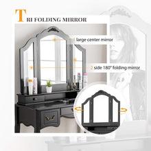 Load image into Gallery viewer, Latest mecor makeup vanity table w tri folding mirror wood dressing table bedroom vanity set w cushioned stool 5 drawers storage for girls women black