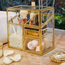 Load image into Gallery viewer, Storage organizer putwo makeup organizer handmade vintage brass edge makeup brush holder glass makeup brushes storage cosmetic organizer makeup vanity decoration jewelry box make up brushes holder with free pearls