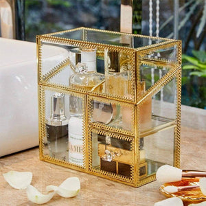 Try putwo makeup organizer handmade vintage brass edge makeup brush holder glass makeup brushes storage cosmetic organizer makeup vanity decoration jewelry box make up brushes holder with free pearls