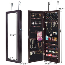 Load image into Gallery viewer, The best giantex wall door mounted jewelry armoire organizer with 2 led lights lockable height adjustable jewelry cabinet with full length mirror large capacity dressing makeup jewelry mirror storage brown