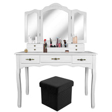 Load image into Gallery viewer, Shop for vanity beauty station tri folding necklace hooked mirrors 6 organization 7 drawers makeup dress table with cushioned stool and storage ottoman white