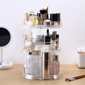 Top makeup organizer acrylic cosmetic organizer vanity and rotating makeup storage perfume organizer with large capacity fit cosmetics perfume brush and more for countertop bathroom and bedroom