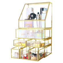 Load image into Gallery viewer, Shop here antique spacious mirror glass drawers set vanity dresser gold makeup storage stunning cube beauty display it consists of 4separate organizers dustproof for skincare pallete perfumes brushes makeup