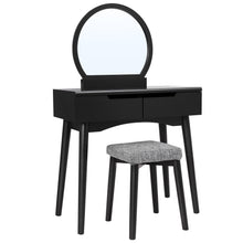 Load image into Gallery viewer, The best vasagle vanity table set with round mirror 2 large drawers with sliding rails makeup dressing table with cushioned stool black urdt11bk