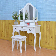 Load image into Gallery viewer, Cheap azadx makeup table set tri folding mirror vanity table set dressing table organizers with cushioned stool bedroom white 5 drawer