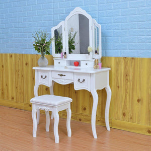 Cheap azadx makeup table set tri folding mirror vanity table set dressing table organizers with cushioned stool bedroom white 5 drawer