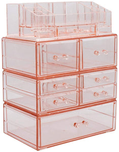 Shop sorbus acrylic cosmetics makeup and jewelry storage case display sets interlocking drawers to create your own specially designed makeup counter stackable and interchangeable pink 1