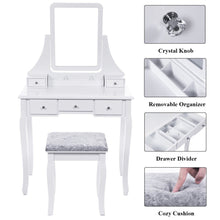 Load image into Gallery viewer, Results bewishome vanity set with mirror cushioned stool dressing table vanity makeup table 5 drawers 2 dividers movable organizers white fst01w