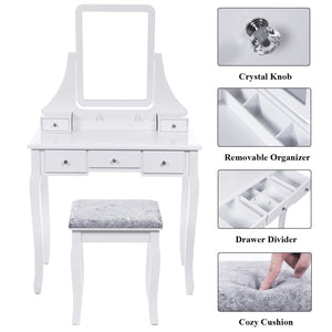 Results bewishome vanity set with mirror cushioned stool dressing table vanity makeup table 5 drawers 2 dividers movable organizers white fst01w