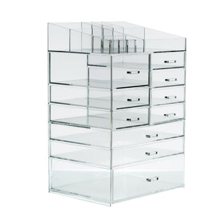 Discover cq acrylic extra large 8 tier clear acrylic cosmetic makeup storage cube organizer with 10 drawers the top of the different size of the compartment suitable for storing lipstick and makeup brush