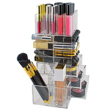 Load image into Gallery viewer, Select nice spinning makeup organizer rotating tower acrylic all in one lipstick lip gloss makeup brush holder drawers pockets for eyeshadows compacts blushes powders perfume