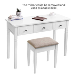 Featured vasagle vanity set with 3 big drawers dressing table with 1 stool makeup desk with large rotating mirror makeup and cosmetic storage multifunctional easy to assemble white urdt106wt