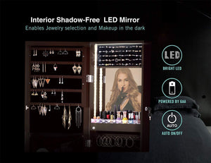 Exclusive luxfurni led light jewelry cabinet wall mount door hanging mirror makeup lockable armoire large storage organizer w drawers
