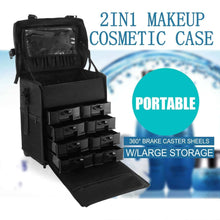 Load image into Gallery viewer, Explore happybuy 2 in 1 nylon makeup case soft with wheels travel cosmetic cases detachable professional rolling trolley makeup travel case oxford vanity portable makeup artist organizer box 2in1 case