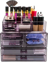 Load image into Gallery viewer, Storage organizer sorbus cosmetics makeup and jewelry storage case display sets interlocking drawers to create your own specially designed makeup counter stackable and interchangeable purple