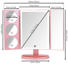 Load image into Gallery viewer, New mirrorvana xlarge vanity mirror with lights extravagant trifold led lighted makeup mirror with 3x 5x 10x magnification bonus usb cable 2018 xlarge rose gold model