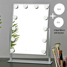 Load image into Gallery viewer, Discover the best mrah hollywood makeup vanity mirror white lighted makeup mirror tabletops lighted mirror led illuminated cosmetic mirror with led dimmable bulbs