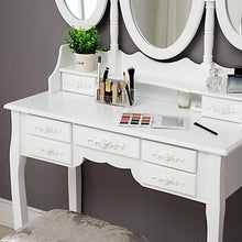 Load image into Gallery viewer, Home honbay trifold mirrors makeup vanity table set cushioned stool and surprise gift makeup organizer with 7 drawers dressing table white
