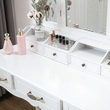 Load image into Gallery viewer, Organize with honbay vanity set tri folding necklace hooked mirror 7 large drawers free organizer 2 makeup brush holders makeup dressing table with cushioned stool for women girls white