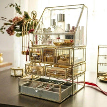 Load image into Gallery viewer, Discover the best spacious palette storage stunning large glass beauty display cosmetics makeup organizer vanity holder with slanted front open lid cosmetic storage for makeup brushes perfumes skincare in gold