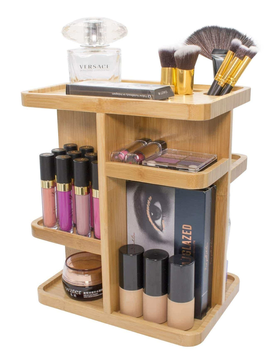Amazon sorbus 360 bamboo cosmetic organizer multi function storage carousel for makeup toiletries and more for vanity desk bathroom bedroom closet kitchen