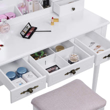 Load image into Gallery viewer, Budget bewishome vanity set makeup dressing table and cushioned stool large tri folding mirror 5 drawers 2 dividers desktop makeup organizer makeup vanity desk for girls women white fst06w