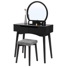 Load image into Gallery viewer, Amazon best vasagle vanity table set with round mirror 2 large drawers with sliding rails makeup dressing table with cushioned stool black urdt11bk