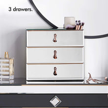 Load image into Gallery viewer, Home beautify mirrored glass cosmetic makeup jewelry organizer with 3 drawers and makeup brushes section includes glass cleaning cloth and rose gold handles