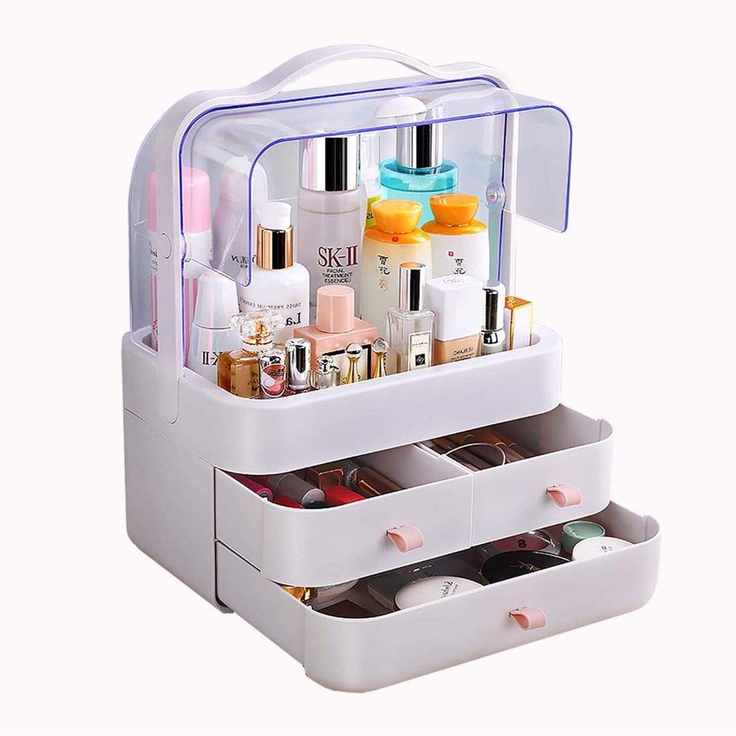 Discover the fazhen dust proof makeup organizer cosmetic and jewelry storage with dustproof lid display boxes with drawers for vanity skin care products rack dressing table desktop finishing box l
