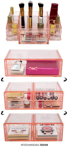 Save on sorbus acrylic cosmetics makeup and jewelry storage case display sets interlocking drawers to create your own specially designed makeup counter stackable and interchangeable pink 1