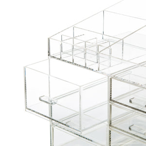 Buy now cq acrylic extra large 8 tier clear acrylic cosmetic makeup storage cube organizer with 10 drawers the top of the different size of the compartment suitable for storing lipstick and makeup brush