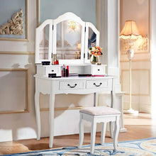 Load image into Gallery viewer, Buy now charmaid vanity set with tri folding mirror and 4 drawers makeup dressing table with cushioned stool makeup vanity set for women girls bedroom makeup table and stool set white