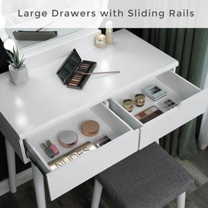Storage organizer vasagle vanity table set with 10 light bulbs and touch switch dressing makeup table desk with large round mirror 2 sliding drawers 1 cushioned stool for bedroom bathroom white urdt11wl