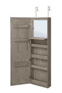 Try abington lane wall mounted over the door makeup organizer beauty armoire with led lights and stowaway mirror heathered grey