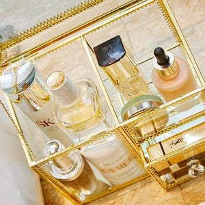 Top putwo makeup organizer handmade vintage brass edge makeup brush holder glass makeup brushes storage cosmetic organizer makeup vanity decoration jewelry box make up brushes holder with free pearls