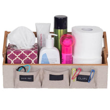 Load image into Gallery viewer, The best g u s bamboo countertop vanity organizer for makeup toiletries shampoos with portable handle and set of 3 bins 15 75 wide