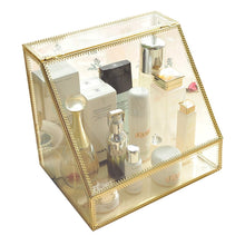Load image into Gallery viewer, Discover the spacious palette storage stunning large glass beauty display cosmetics makeup organizer vanity holder with slanted front open lid cosmetic storage for makeup brushes perfumes skincare in gold