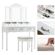 Load image into Gallery viewer, Results honbay vanity set tri folding necklace hooked mirror 7 large drawers free organizer 2 makeup brush holders makeup dressing table with cushioned stool for women girls white