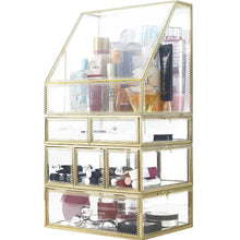 Load image into Gallery viewer, Exclusive spacious palette storage stunning large glass beauty display cosmetics makeup organizer vanity holder with slanted front open lid cosmetic storage for makeup brushes perfumes skincare in gold