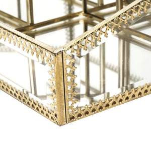 Shop hersoo gold mirrored vanity tray glass makeup display organizer dresser comestic storage for palette lipstick brushes skincare perfumes bathroom accessories