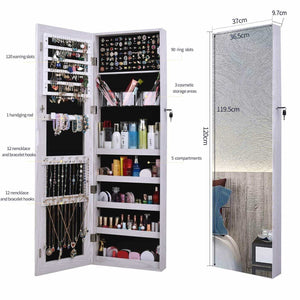 Great aoou jewelry organizer jewelry cabinet full screen display view larger mirror full length mirror large capacity dressing mirror makeup jewelry armoire jewelry mirror full length mirror white
