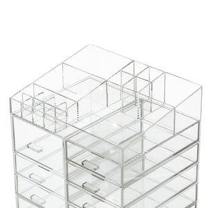 Cheap cq acrylic extra large 8 tier clear acrylic cosmetic makeup storage cube organizer with 10 drawers the top of the different size of the compartment suitable for storing lipstick and makeup brush