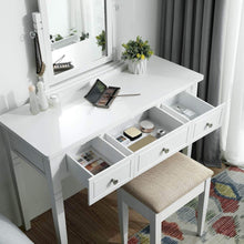 Load image into Gallery viewer, Great vasagle vanity set with 3 big drawers dressing table with 1 stool makeup desk with large rotating mirror makeup and cosmetic storage multifunctional easy to assemble white urdt106wt