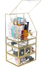 Load image into Gallery viewer, Explore spacious palette storage stunning large glass beauty display cosmetics makeup organizer vanity holder with slanted front open lid cosmetic storage for makeup brushes perfumes skincare in gold
