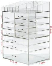 Load image into Gallery viewer, Discover the cq acrylic extra large 8 tier clear acrylic cosmetic makeup storage cube organizer with 10 drawers the top of the different size of the compartment suitable for storing lipstick and makeup brush