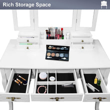 Load image into Gallery viewer, Shop here vanity beauty station large tri folding necklace hooked mirrors 6 organization 7 drawers makeup dress table with cushioned stool set white