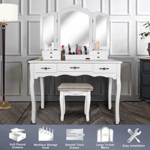 Load image into Gallery viewer, Shop vanity beauty station large tri folding necklace hooked mirrors 6 organization 7 drawers makeup dress table with cushioned stool set white