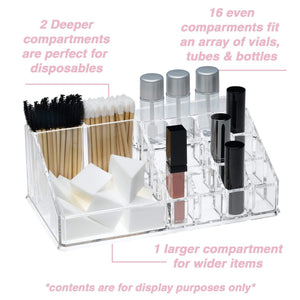 Results acrylic makeup organizer and holder storage for make up brushes lipstick and cosmetic supplies fits on counter top vanity or desk clear