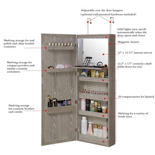 Load image into Gallery viewer, The best abington lane wall mounted over the door makeup organizer beauty armoire with led lights and stowaway mirror heathered grey