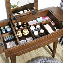 Load image into Gallery viewer, Discover vasagle vanity table with flip top mirror solid wood makeup dressing table desk 6 organizers for different sized makeup accessories 1 small drawers for lipsticks powders saddle brown urdt26br